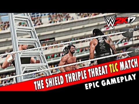 WWE 2K17 - Roman Reigns vs Seth Rollins vs Dean Ambrose The Shield Triple Threat TLC Match