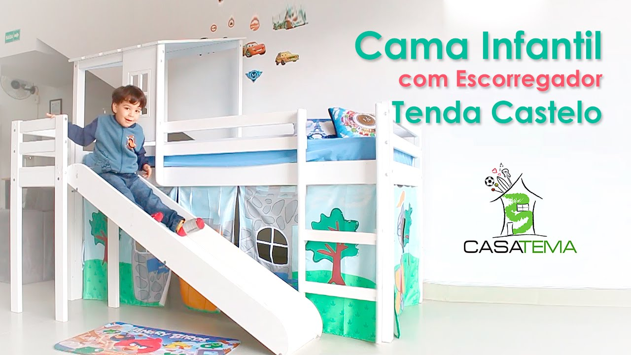 Cama infantil com escorregador e tenda castelo youtube for Cama infantil