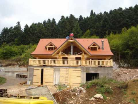 Constructeur maison en rondins de bois construction youtube for Comment construire maison en bois