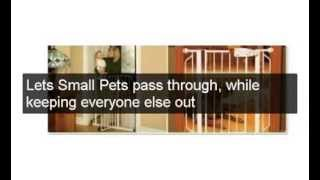 Expandable Tall Walk Thru Metal Pet Dog Door Gate Baby Cat Toddler Safety Secure