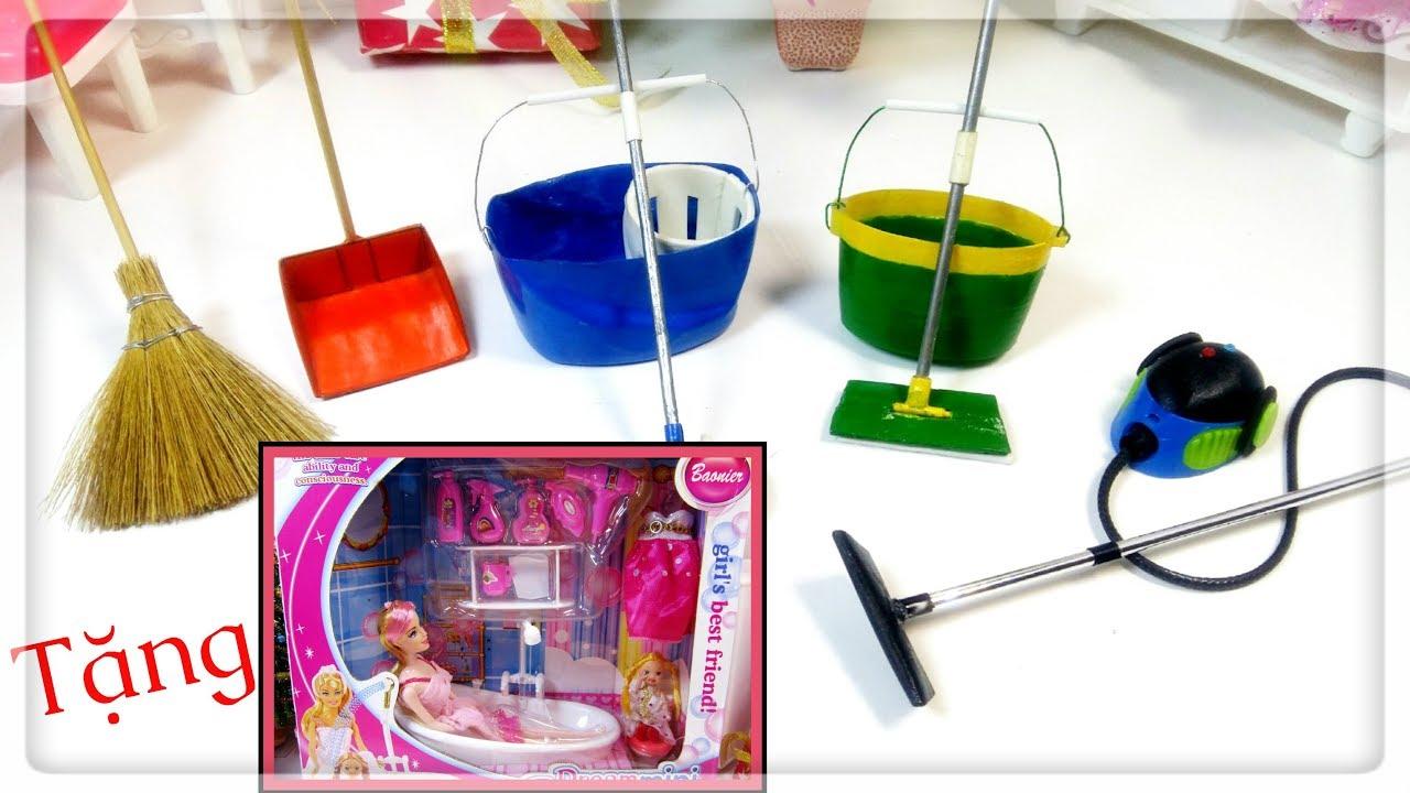 Làm đồ cho búp bê: Tổng hợp đồ dùng lau dọn nhà búp bê/ 7 DIY Miniature Cleaning Supplies / Ami DIY