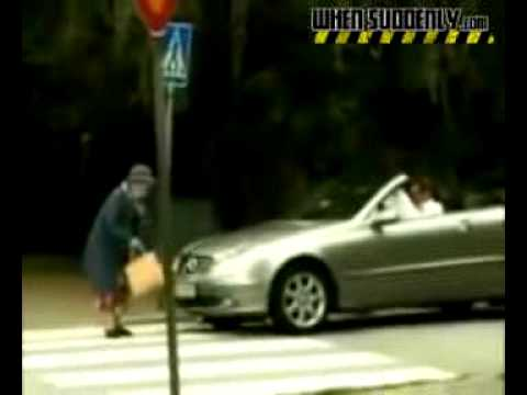 Old lady crossing street airbag