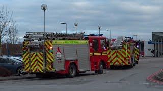 Fire engines responding & onscene - Pumps x3 Dennis, Scania & MAN
