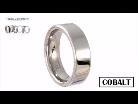 Mens 7mm Polished Flat Cobalt Wedding Ring CCR17