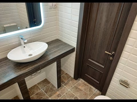 Идея дизайна Душевая Кабина в ванной Столешница из плитки под раковину