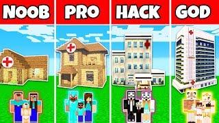 Minecraft: FAMILY HOSPITAL BUILD CHALLENGE - NOOB vs PRO vs HACKER vs GOD in Minecraft