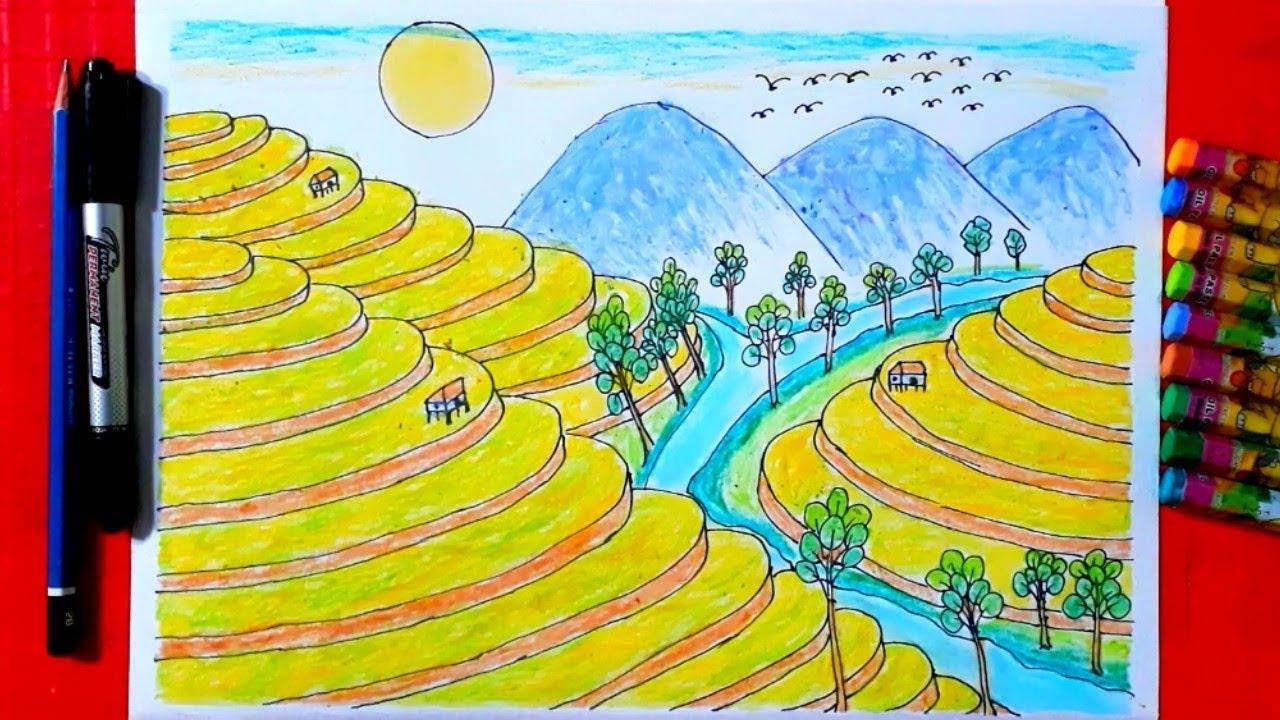 Vẽ Tranh Phong Cảnh - p1-Vẽ Ruộng Bậc Thang Bằng Bút Sáp Dầu-HỌC VẼ TRANH ĐƠN GIẢN