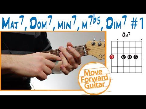 guitar chord theory - maj7 - dom7 - min7 - m7b5 - dim7 (#1)