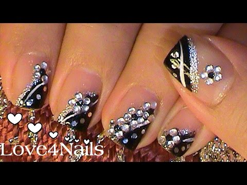 Arte de u as facil y sencillo negro y plateado doovi for Espejos decorados con piedras