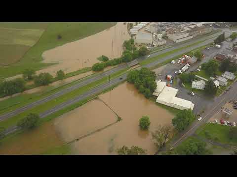 Flight over flooded Dayton, VA