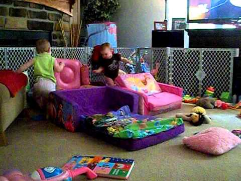 Kiley And Kenady On Their Disney Sofas From Gramma Debbie Harris 6 24 11 You