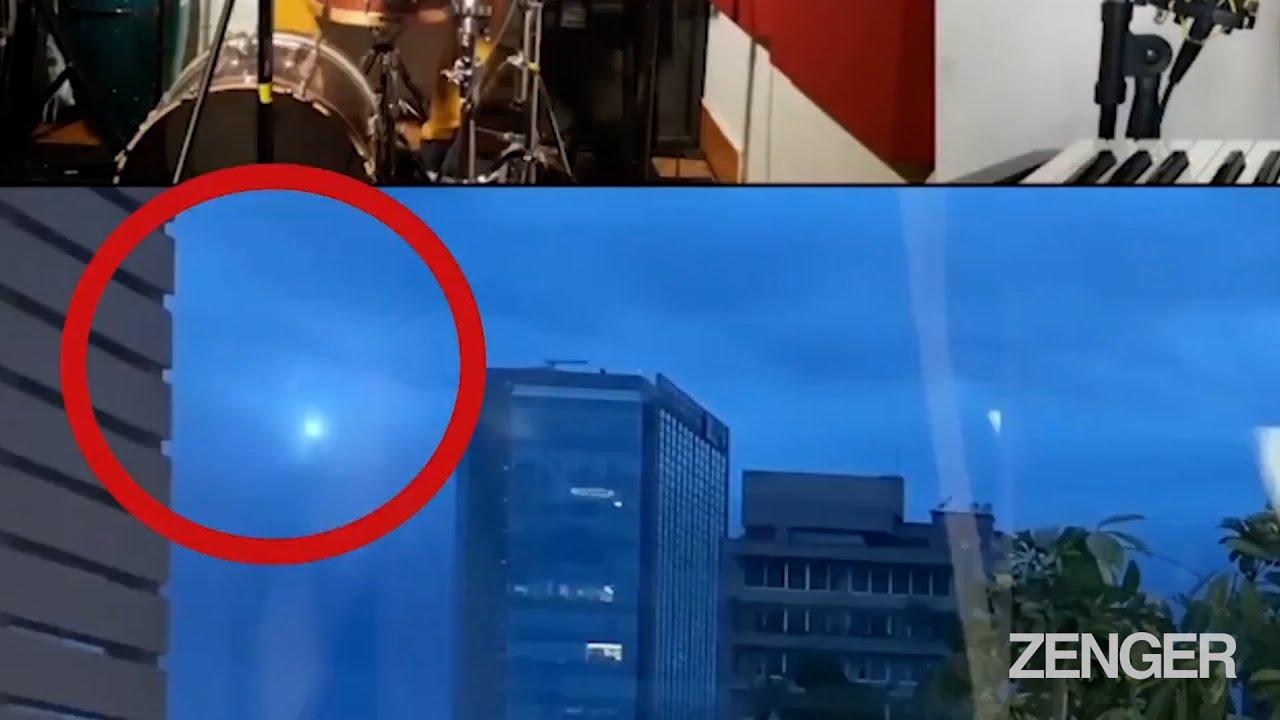 un OVNI repéré par des fans alors qu'un groupe de pop chante en direct