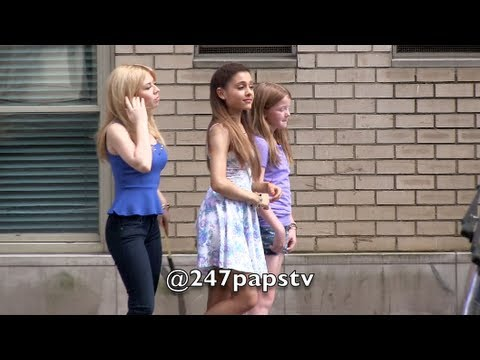 Ariana Grande and Jennette McCurdy filming a Commercial in NYC (07-03-13)