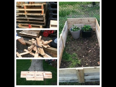 How To Make A Free Raised Garden Bed With Pallets Youtube