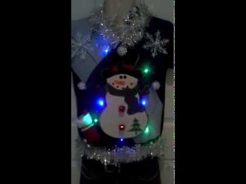 Ugly Christmas Sweater Blue and Silver Snowman