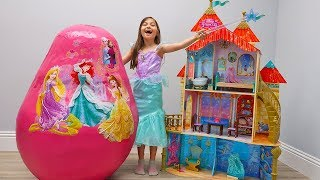 Pretend Play with Giant Ariel Castle and Huge Disney Princess Egg Surprise Toys