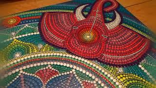 """Dot painting mandala. Acrylic Painting. Mandala """"Four elephants"""""""