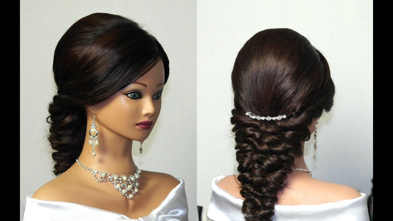 Top 20 Wedding Hairstyles For Medium Hair: Wedding Prom Mermaid Hairstyle For Long Hair.