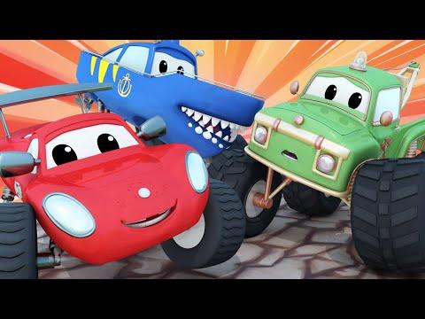 Cidade do Monster Truck | O Moe cai no rio! 🚗 Desenhos Animados para Crianças.
