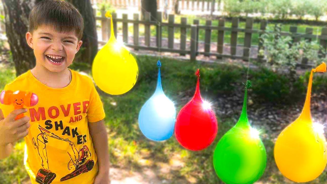 🎈🎈🎈Nikki Bernyanyi FINGER FAMILY SONG Belajar Warna Dengan Balon & Meletuskanya |동요와 아이 노래 | 어린이 교육