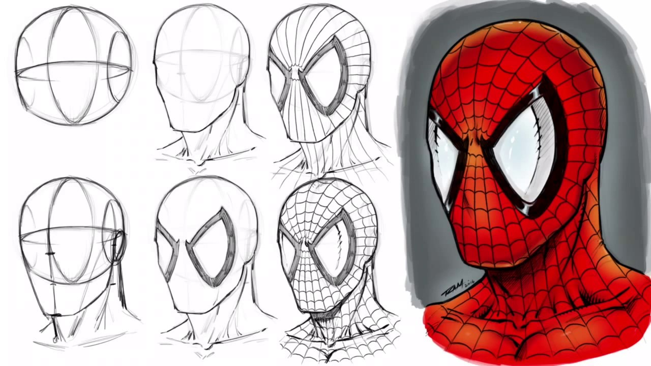 How To Draw Spider Man S Mask Step By Step Youtube