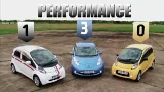 Nissan Leaf vs Citroen C-Zero vs Mitsubishi i-Miev review