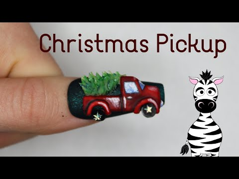 4D Pickup Truck with Christmas Tree Acrylic Nail Art Tutorial | Madam Glam thumbnail