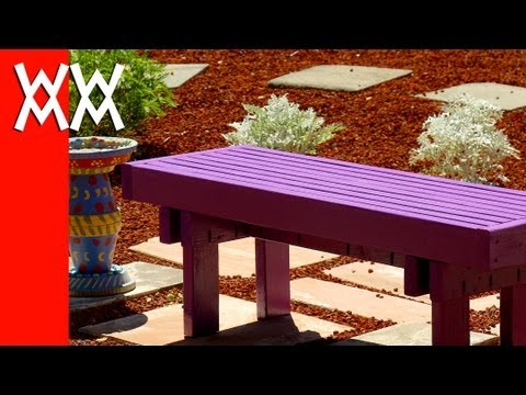 Build this budget-friendly outdoor bench using 2x4s. Fun & easy weekend woodworking project ...