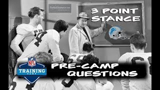 Football Gameplan's 3 Point Stance - Lions Pre-Camp Questions