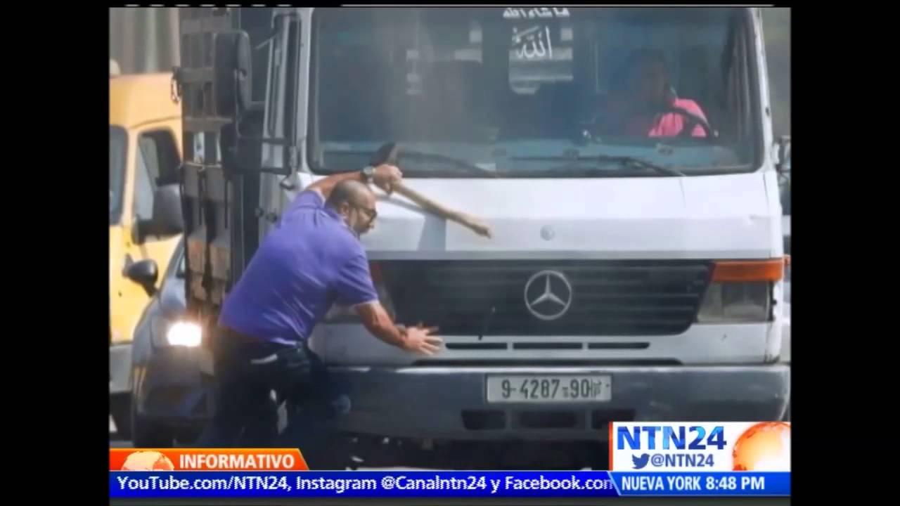 Judio es domado por un camion en Cisjordania