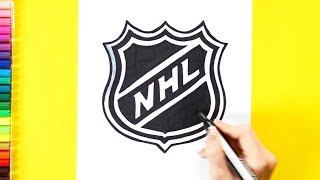 How to draw and color National Hockey League - NHL Logo