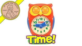Vintage Tomy Owl Answer Clock Learning Toy - Tell The Time From His Eyes!