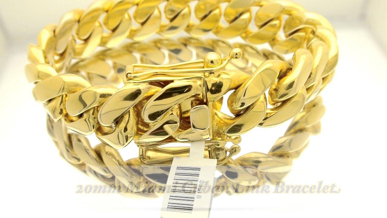 20mm Miami Cuban Link Box Lock Big Fat Bracelet Hd Hand