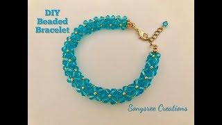Aqua Bracelet  DIY Beaded Bracelet Bicone Bracelet  How to make beaded bracelet