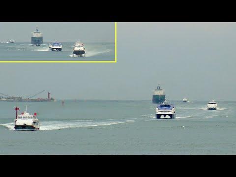 [Jetfoil 929-100, Tricat 52m, Citycat 40, DFF4010] Four high speed ferry arrive Busan in same time.