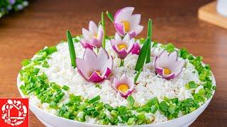 Салат Полянка с Цветами на 8 Марта Очень Вкусный и Легкий салат