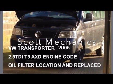 VW transporter T5 oil filter change & location