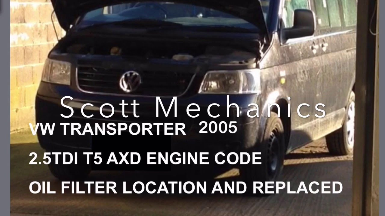 VW transporter T5 oil filter change & location - YouTube