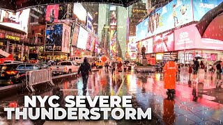 ⁴ᴷ⁶⁰ Walking NYC (Narrated) : Severe Thunderstorm Walk on 5th Avenue, Times Square & Broadway