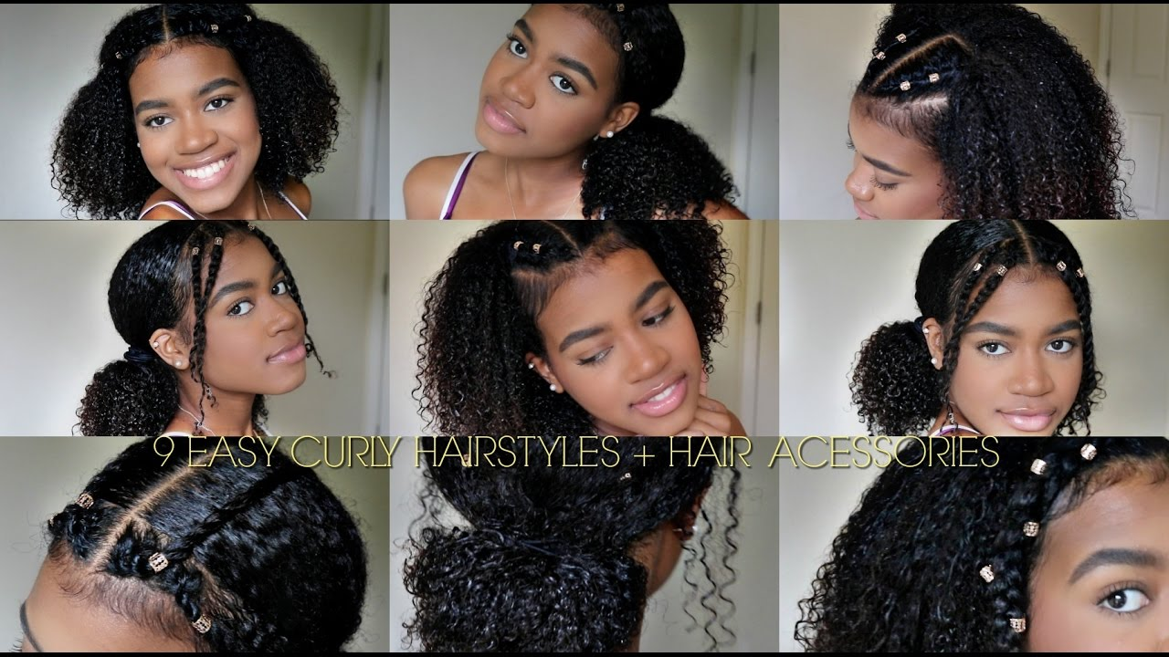 9 EASY CURLY HAIRSTYLES (NATURAL HAIR) + Hair Cuffs - YouTube
