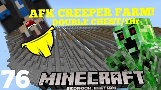 How To Make The BEST AFK CREEPER FARM In MINECRAFT BEDROCK! (Double Chest/1Hr)|BlockSMP Season 3
