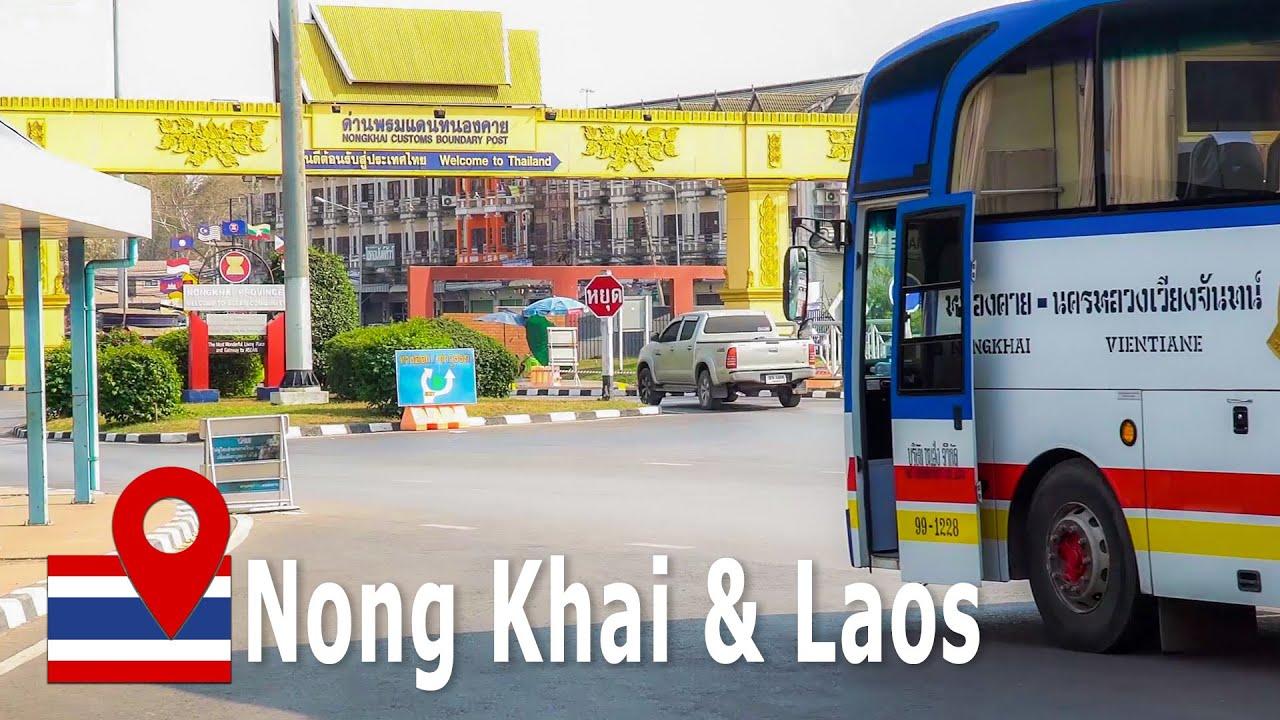 Nong Khai Border Thailand and Vientiane Laos to make a Thai Visa (4K)