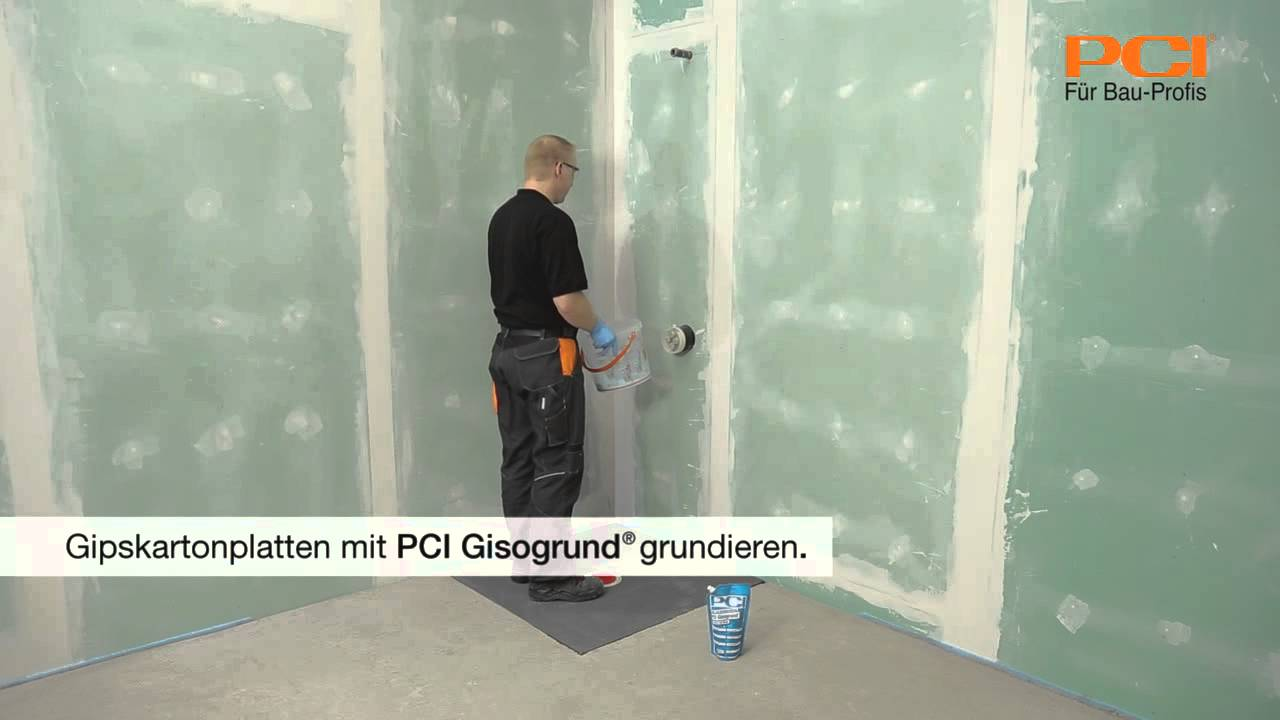 pci gisogrund gipskartonplatten im badezimmer vor der verlegung von fliesen grundieren youtube. Black Bedroom Furniture Sets. Home Design Ideas