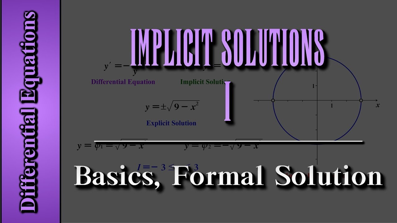 Differential Equations: Implicit Solutions (Level 1 of 3)   Basics, Formal  Solution