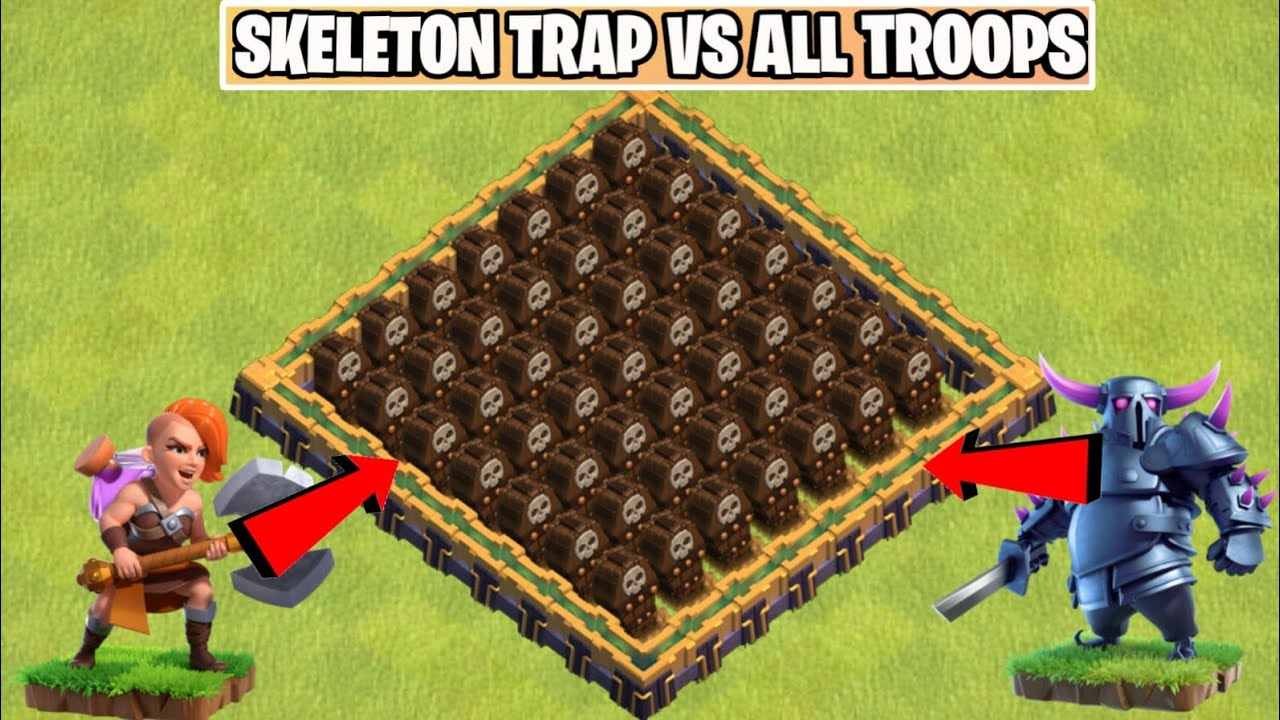 Max Level x999 Skeleton Trap Vs All Troops | Most satisfying Video In Clash of clans | Coc |