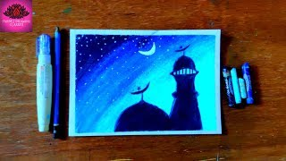 milad un nabi  special moonlight scenery drawing with oil pastel (very easy)