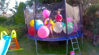 💜 💛 💚 Kids Learn Colors with Toys Balloons on a  Trampoline