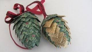Paper Pinecone Christmas Ornament Styrofoam Egg Shape Beautiful