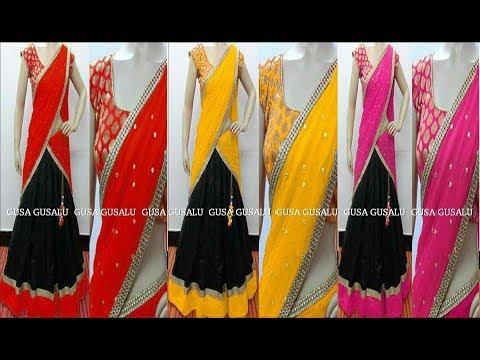 latest Langa Voni || new model half saree designs 2017 || wedding lehenga Designs With Price