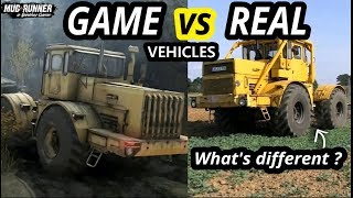 Spintires Mudrunner Game vs Real Vehicles